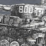 tank-acrylic,graphite-and-indiank-ink-on-canvas---cm100x200-particolare